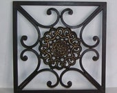 Square Cast Iron Stove Grate, Iron Trivet, Bronze Center, Wall Hanging, Fence Hanging, Outdoor Grate, Wall Decor, Trevit,
