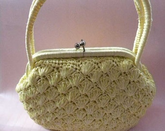 Women's Bright Yellow Short Handle Straw Purse - Made in Japan