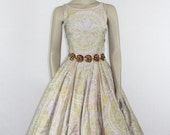 1950s Vintage Dress - Anne Fogarty Sleeveless Floral and Paisley Novelty Print Full Skirt Sundress