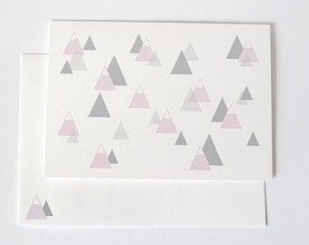 Mountain Card in pink, grey and white