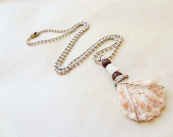 Pretty Little Cat's Paw Necklace with Pukka and Wood Beads-Beach Candies by jessentials