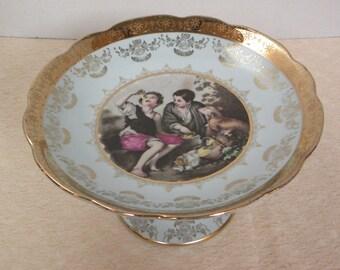 Vintage Light Blue Pedestal Dish -- Royal Carlton Porcelain Ceramic Dish with 24 Kt Gold Embellished -- Victorian Art Nouveau style