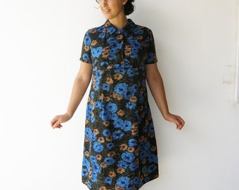 Vintage 60s Floral Dress / Silk Dress / Size L