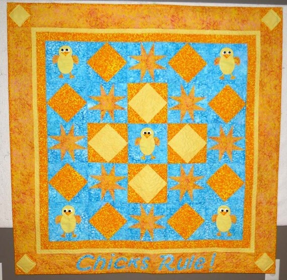 Chicks Rule! Quilt girl wall hanging