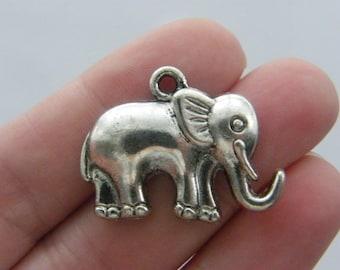 6 Elephant charms antique silver tone A521