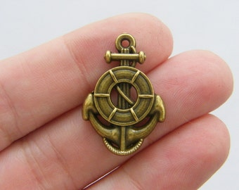 6 Helm anchor charms antique bronze tone BC59