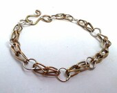 Brass and Sterling Silver Soldered Link Chain Bracelet With Hook Clasp