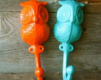 Cast  Iron Owl Hook/ Hanger in Orange and Sea Green Home Decor/ Woodland Decor/ Nursery