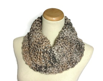 Outlander Inspired, Bulky Scarf, Hand Knit Cowl, Circle Scarf, Infinity Scarf, Neck Warmer, Tan Cowl, Knit Cowl, Tweed, Multicolor Scarf