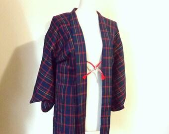 Vintage KIMONO jacket plaid HAORI wool navy blue red yellow size M ready to ship