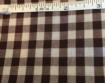 "3 yds 25"" Chocolate White GINGHAM Check Fabric 44 wide Clothing Quilting"