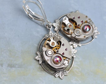 steampunk earrings - FRAGMENTS OF TIME - silver 17 jeweled earrings with sterling silver ear wires