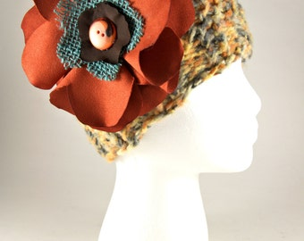 Gray, yellow and orange knit hat with Fabric Flower, Bamboo Yarn, knitted hat, women's hat, accessory