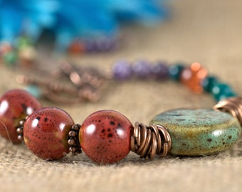Multimedia Bracelet, red, green, blue, turquoise, amethyst, copper