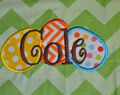 """Sale!  Easter Deco Liner ONLY with name Cole.  Ready to ship!  Fits 12"""" round basket. AS IS - all sales final!"""