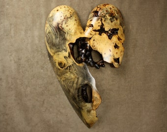 An Art Wood Sculpture of a Heart Wood Carving 5th Anniversary Gift