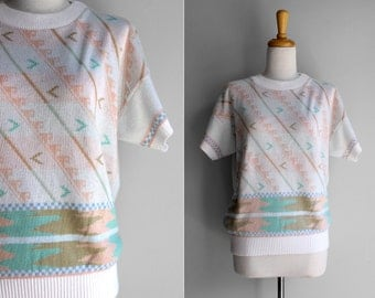 FINAL SALE Vintage Acrylic Pastel Short Sleeve Crew Neck Sweater - Large