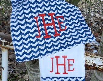 Personalized monogram boy burp cloth and bib set/baby shower gift