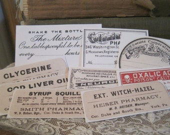 NEW assorted vintage apothecary medicine labels peel and stick