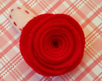 Red Felt Rosette Flower 2 Inch Hair Clip