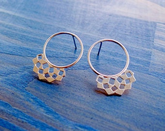 Mashrabiya Ring Stud No 2. Modern Geometry. Handmade Silver Lace Earrings. Architecture Inspired Design. Modern Art Recycled Sterling Studs.