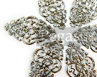 Silver Elven filigree pendant connector Elven Pattern (6 pieces) jewelry finding for necklace pendant, chokers,earrings,circlet,cosplay,larp