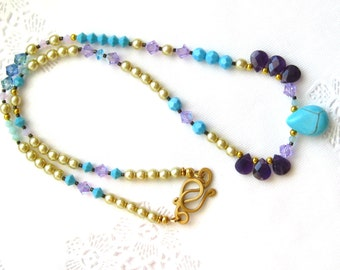 Turquoise Amethyst and Pearl Necklace Gem briolettes Swarovski pearls Swarovski crystals Handmade matte gold Amethyst Pearl Turquoise