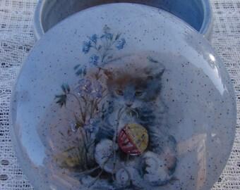 Grey Kitty on Denim Tweed Glaze 4 Inch Ceramic Button /Jewelry/Paperclip Box
