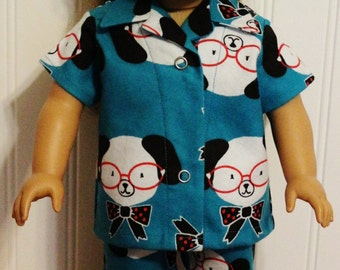 SHERMAN the Genius Puppy Flannel Pajamas fit 18inch Dolls - Proudly Made in America