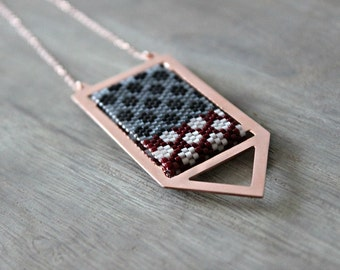 Geometric Pendant Necklace, Pendant Rose Gold Everyday Jewelry, Grey, Black, White and Red