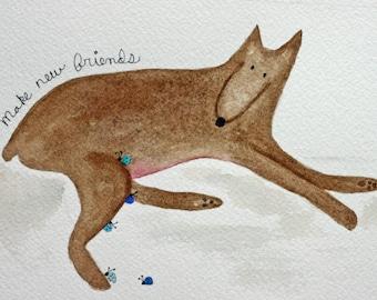 Dog doberman, original inspirational watercolor painting, brown dog, blue bugs, lady bugs, make new friends, children's art, nursery art