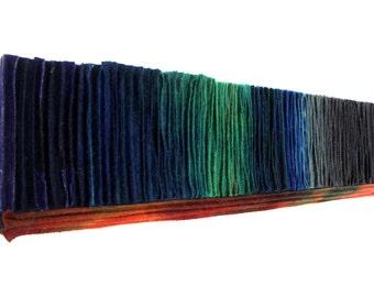 Felted Wool Fiber Art / Abstract Wallhanging / Green Orange Blue Gray Wall Art