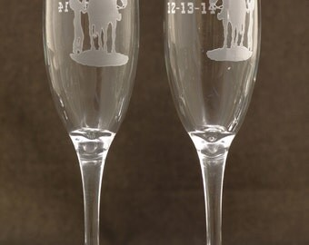 Western Design Personalized Wedding Toasting Glasses