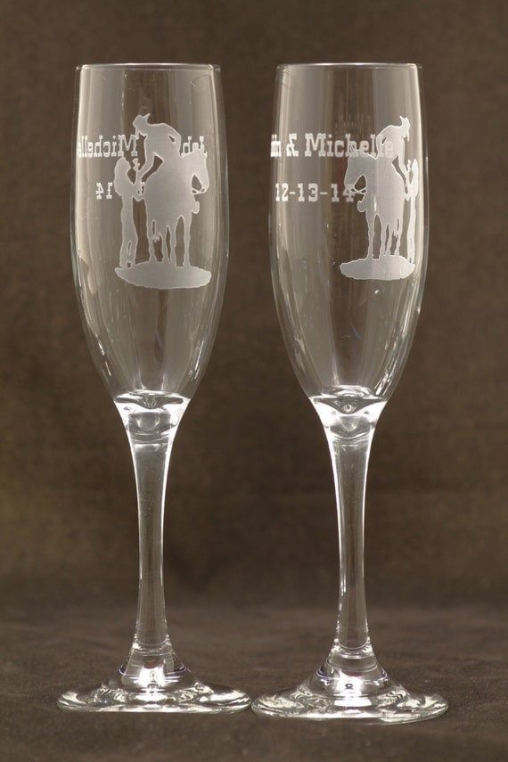 western design personalized wedding toasting glasses