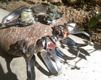 Agate and stainless steel fork bracelets