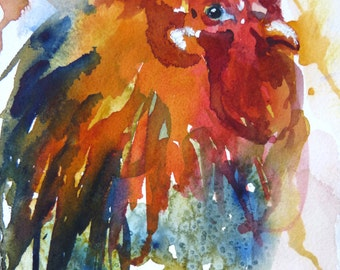 Red Rooster Watercolor Art Print y Maure Bausch