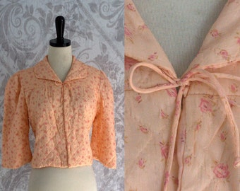 Vintage Cropped Bed Jacket 1950s Silk Bed Jacket Peach Silk Lingerie Floral Lingerie Quilted Silk Jacket Womens Size Small Medium