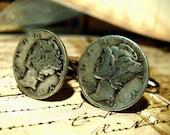 Vintage Mercury Dime Cufflinks Real Silver dimes