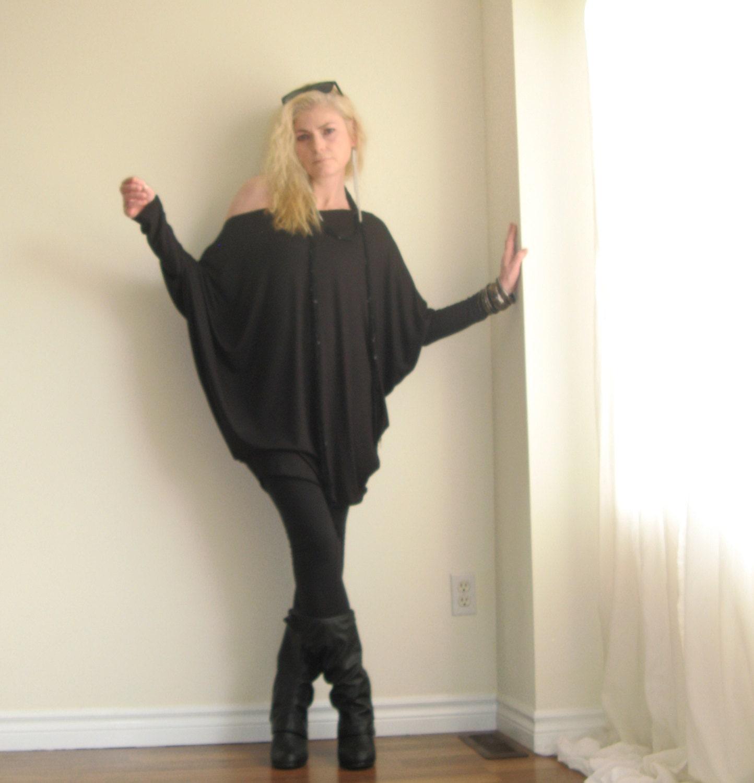 Off Shoulder Top Womens Plus Size Tunic Long Dolman Sleeve