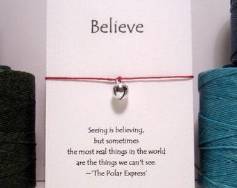 Polar Express Bell  Wish Bracelet Silver