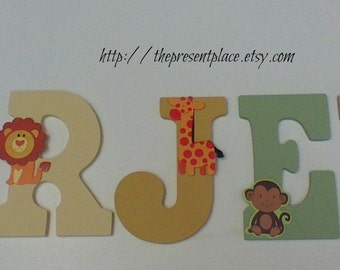 Five wooden letters,hand painted in neutral  jungle colors,jungle animal letters,jungle animal decor,safari animal letters,jungle animal art
