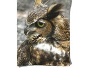 Fleece Blanket -  Owl Bird - Brown - Decorative Nature Fleece Blanket - Baby Blanket - Medium Large Blanket