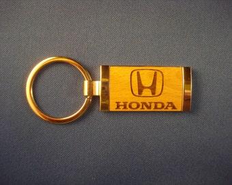 Honda Key Chain - Laser Engraved Wood Keychain.  Great Birthday, Graduation or New Car Gift!