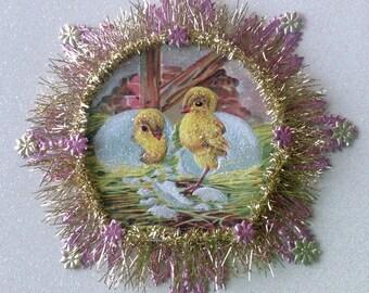 Vintage Look Easter Chicks Ornament Victorian-1910 Postcard Chicks, German Dresdens, German Tinsel