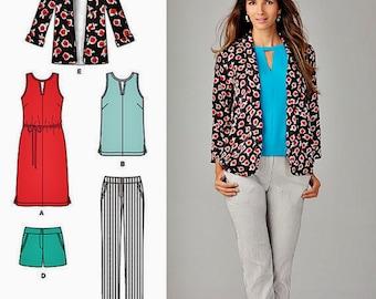 Slim Pants Pattern, Tunic Dress Pattern, Unlined Jacket Pattern, Shorts Pattern, Sz 4 to 12, Simplicity sewing pattern 1430