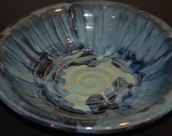 Ceramics and Pottery Bowl with Blue and Green Glazes, for Serving, a Fruit Bowl, or Mixing, Large Ceramic Bowl