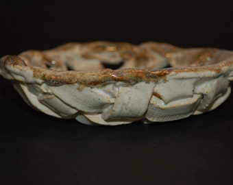 Small Woven Bowl, Ceramics and Pottery Bowl, Handbuilt Ceramic Bowl, Fruit Bowl, Housewarming Gift, Bread Bowl