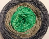 Gradient Hand Dyed Yarn - Merino / Nylon - Fingering Weight / Sock Weight Color Change - kelly green sand gray