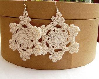 Nature snowflakes, Snowflakes statement, Snowflakes earrings, Statement earrings, Blossom dangles, Crochet lace earrings, Fiber earrings,