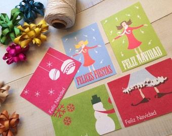 Set of 6 Christmas Cards Feliz Navidad Greeting Card, Spanish Card, Blank Note Card, Spanish Language, Funny Birthday Card, Pun Card